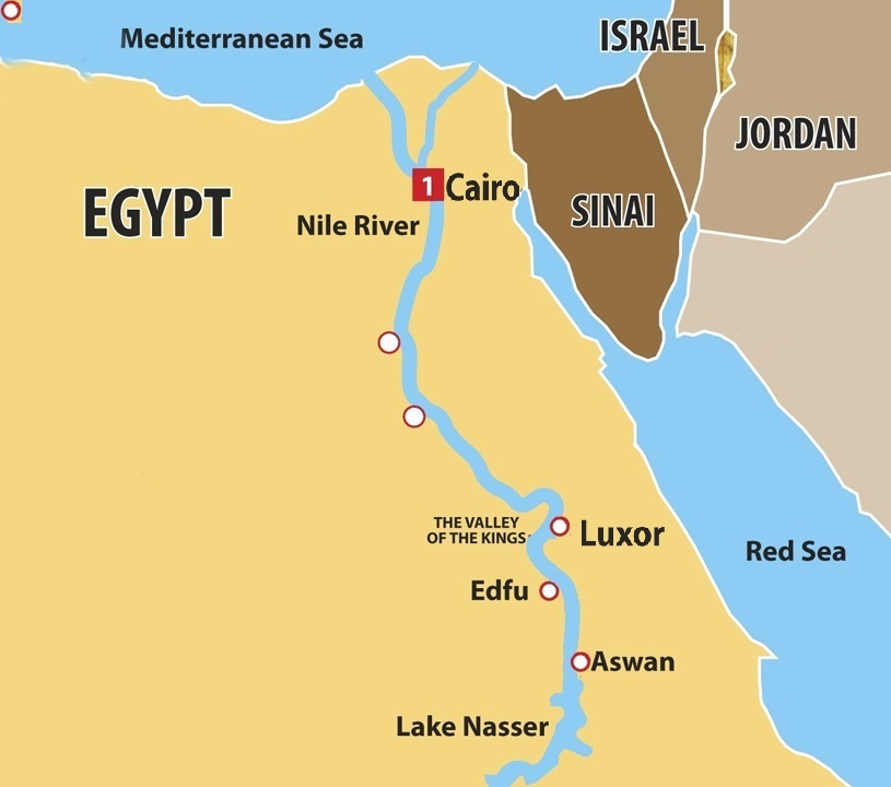 4 Nights Nile Cruise from Luxor to Aswan Map