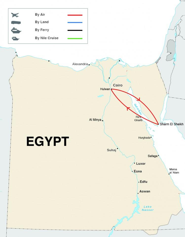 Splendors of Red Sea Tour Map